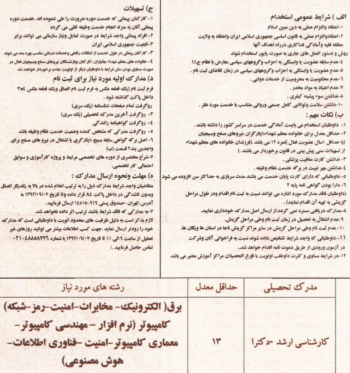 آگهی استخدام پلیس سایبری آبانماه سال ۹۲